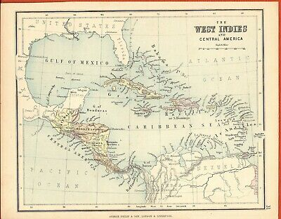 Antique MAP ~ WEST INDIES & CENTRAL AMERICA ~ GEORGE PHILIP c1880 Vintage