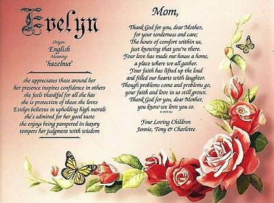 MOM PERSONALIZED POEM & Name Meaning, Floral Print