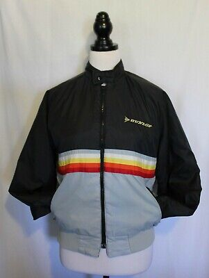 VINTAGE 1970'S SWINGSTER ~ Black Grey Yellow DUNLOP Quilted Bomber Jacket M