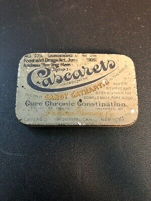 1 Rare Vintage Cascarets Candy Cathartic Tin With Orig Food & Drug Stamp 1905!