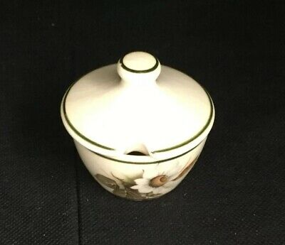 Brixham Pottery Mustard Pot With Lid. Cream With Flower Design
