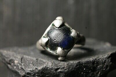 Ancient Unique Viking Silver Stone Ring , Authentic Artifact, 6-11th Century AD.