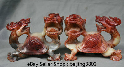 """7"""" Old Chinese Natural Xiu Jade Carved Folk Dragon tortoise turtle Statue Pair"""