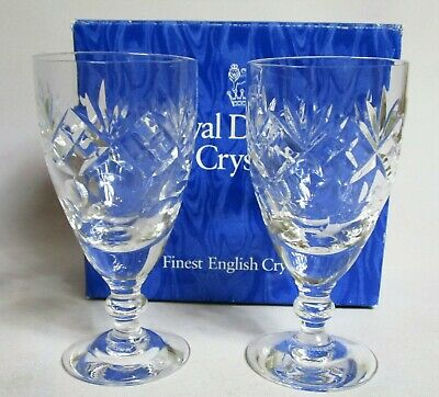Pair of Royal Doulton Georgian Cut Sherry Glasses. Finest English Crystal. Boxed
