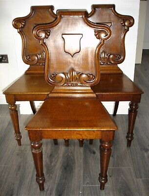 3 Antique Victorian Solid Wood Hall Chairs With Carved Shield Backs (1880-1900)
