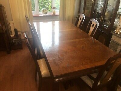 Polished Solid Wood Dining Table Mahogany/walnut Colour With 6 Dining Chairs