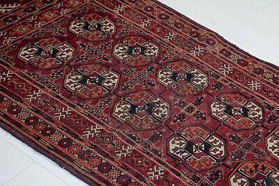 4.62x3.18 Hand-Knotted Fine Antique Turkoman Rug Old Fragment Tribal Carpet