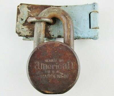 Vintage American Padlock Series 10 USA Hardened OHJ Locked No Key w/Hasp Latch