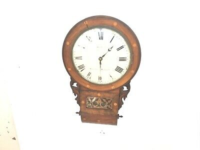 Antique fusee drop dial clock convex dial all original