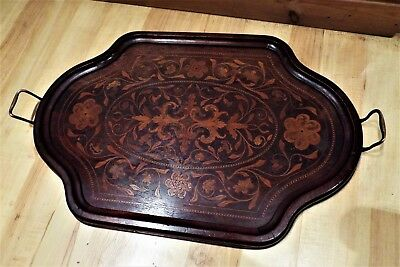 Edwardian Marquetry Inlaid Mahogany  Serving Tray