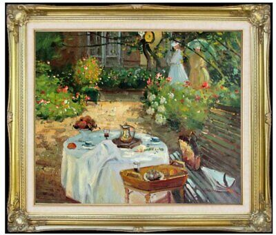 Framed Claude Monet The Luncheon Repro Quality Hand Painted Oil Painting 20x24in