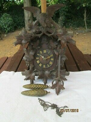 Rare Antiqueblack Forest Cuckoo Clock Heavily Carved