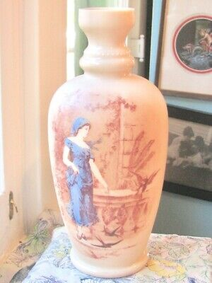 Antique Almond Satin Art Glass Purple Transfer Blue Lady, Birds Vase-3 Days Ship