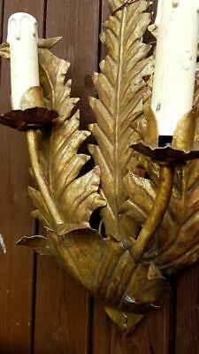 Rustic Antique French Gilt Tole Candle Bougeoir Wall Sconce-Furled Fern Leaves