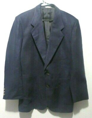 Geoffrey Beene Mens Size 38S Navy Blue Linen Blend 2 Button Sports Jacket Blazer