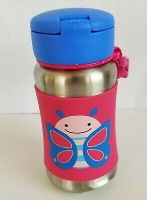 Skip Hop Kids Water Bottle, Straw, Sippy Cup, Butterfly, Stainless Steel