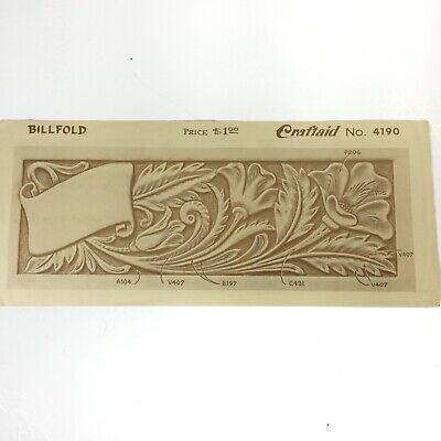 Vintage Craftaid Craftool #4190 wallet billfold template leather craft floral