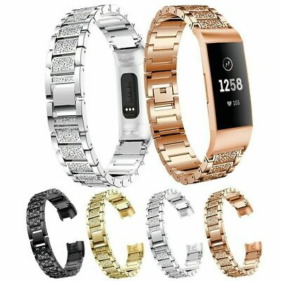 for Fitbit Charge 2 Bands Stainless Steel Metal Milanese/Diamond Wristband Strap