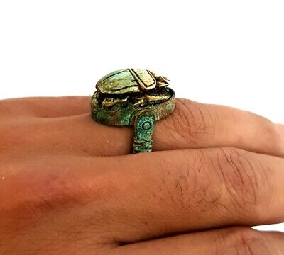 Very rare Ancient royal Ring Egyptian Copper Egypt Antique Hieroglyphic scarab