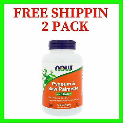 2 PACK Now Foods, Pygeum & Saw Palmetto, 120 Softgels FREE SHIPPING