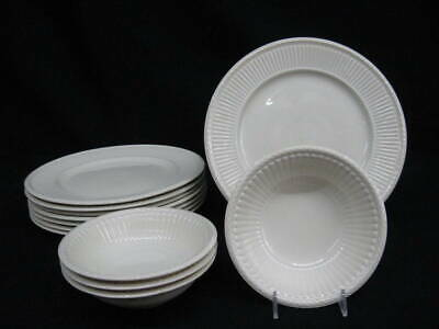 12 Pc. Wedgwood Etruria EDME Off-White Cereal Bowls 8 Dinner Plates Green Mark