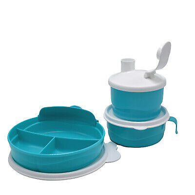 Tupperware Teal Child Kid Divided Lunch Plate Bowl Teal