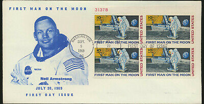C76 Moon Landing Cachet 1969 Dual Cancel UA Neil Armstrong PB  First Day Cover