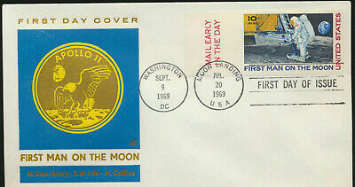 C76 Moon Landing Cachet 1969 Dual Cancel Unadd Cachet First Day with Mail Early