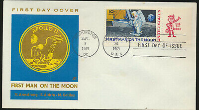C76 Moon Landing Cachet 1969 Dual Cancel Unadd Cachet First Day with Mr ZIP TAB