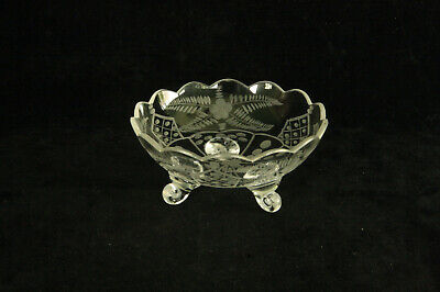 Antique Bohemian Clear Art Glass With Cutting 3 Toed Open Salt Cellar Nut Dish