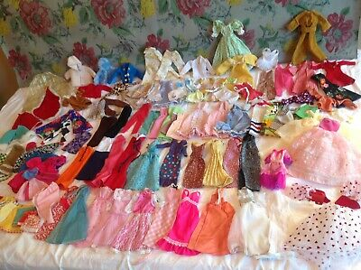 Vtg 1960-70's Barbie Clothes Lot of 95 Various Unlabeled/Handmade W/ Metal snaps