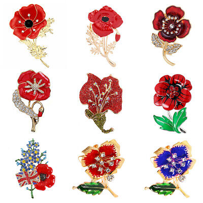 Crystal Poppy Pin Day Badges 2019 British Red Brooch Enamel Badge Collection New