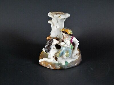 Antique 18th 19th Century English European Pottery Figure Shepard and Dog 2.5""