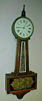 Antique Howard-style 8 Day American Banjo Clock Working Single Weight Driven