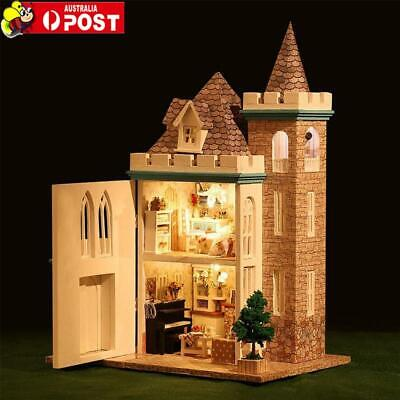 DIY Wooden Moonlight Castle Doll House Miniature Kit Dollhouse LED Lamp Gift AU