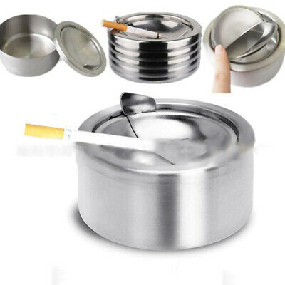 Fashion Stainless Steel Windproof Ashtray With Lid Universal Cigarette Ashtray