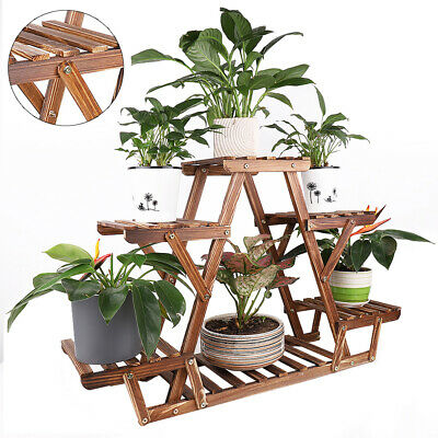 Wooden Plant Stand 6 Tier Bonsai Display Shelf Carbonized Wood for Porch Outdoor