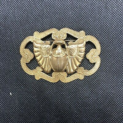 Antique Deco Egyptian Revival Scarab Beetle Art Brass Color Pin Brooch