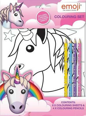 Emoji Unicorn Colouring Set Art Craft Pencils & Stickers Travel Activity Book