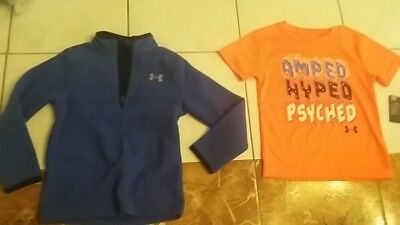 NWT BOYS Under Armour lot t-shirt + long sleeve 1/4 zip pullover