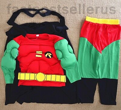 2-7  Boys Kids Robin 3pc Muscle Costume Set Halloween Party Dress Outfit