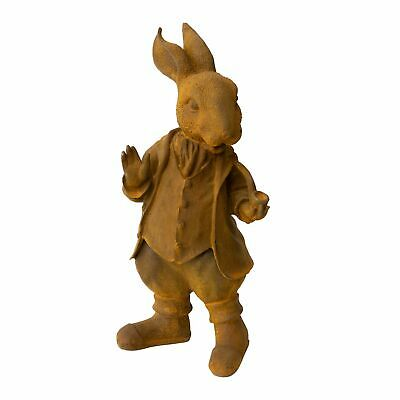 Large Cast Iron Bunny Statue Vintage Mad hatter Rusted Rabbit Rustic Sculpture