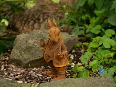 Small Cast Iron Bunny Statue Vintage Mad hatter Rusted Rabbit Rustic Sculpture