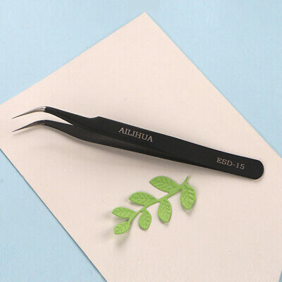 1x 12cm Curved Straight Fine Point Tweezers Black Coated DIY Handmade Craft Tool