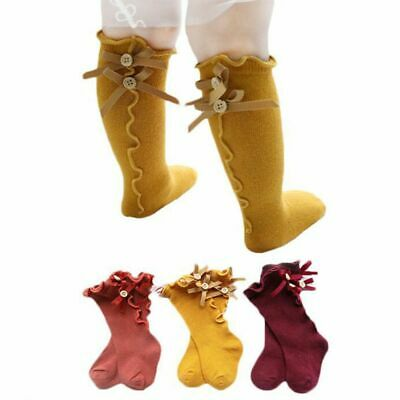 Girls Infant Baby Long Socks With Bows Ruffle Toddler Knee High Sock Hot Sale