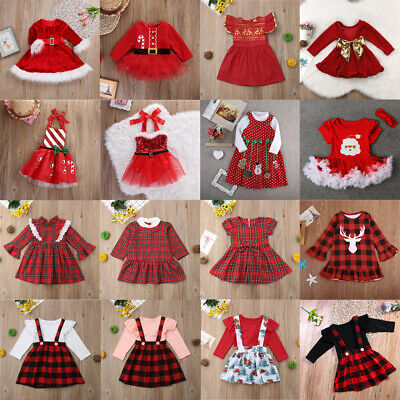 Christmas Toddler Kids Baby Girls Festival Xmas Party Tutu Dress Outfits Clothes