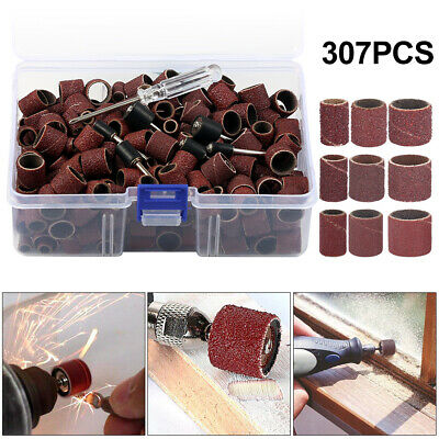 307x Drill Sanding Band Drum Set Sleeves Bobbin 80-240 Grit for Dremel Rotary