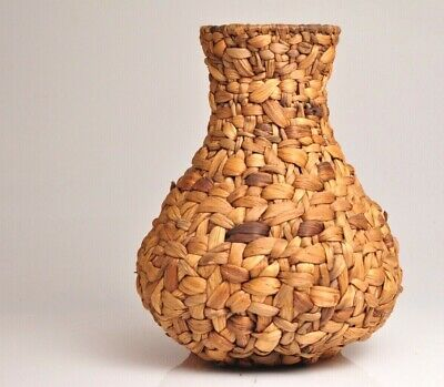 """Large Antique Vintage Hand Woven VASE 12.5""""inches tall"""