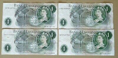 Uk - 4 X One Pounds Hollom Different Prefixes 1963
