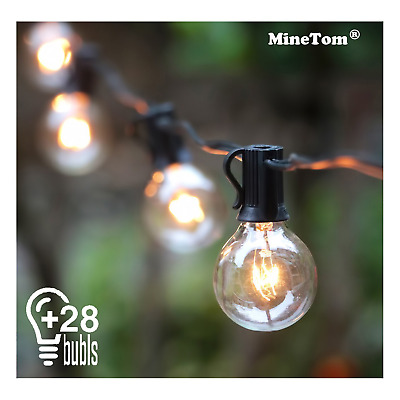 Outdoor String Lights,25Ft G40 Globe Light String with 28 Clear Hanging String